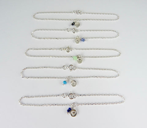 Valentine Silver Heart and Gemstone Bracelet
