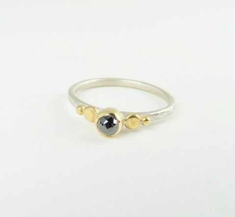Delicate Black Diamond Granulation Ring
