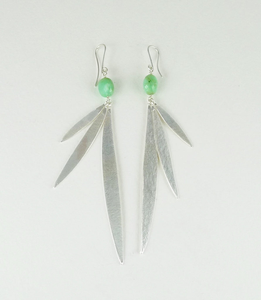 Lily Long Leaf Earrings with Gemstone