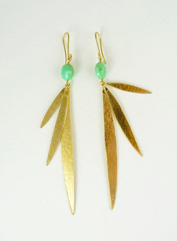 Lily Long Leaf Earrings with gemstones