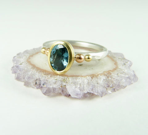 Blue Tourmaline Granulation ring
