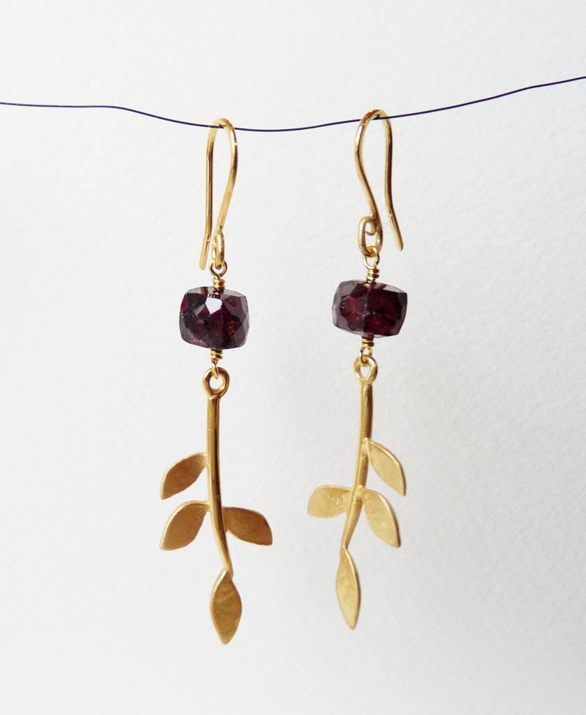Blossoming, branch, jewellery, jewelry, earrings, hook, hooks, sterling, silver, 18ct, gold, nature, natural, garnet