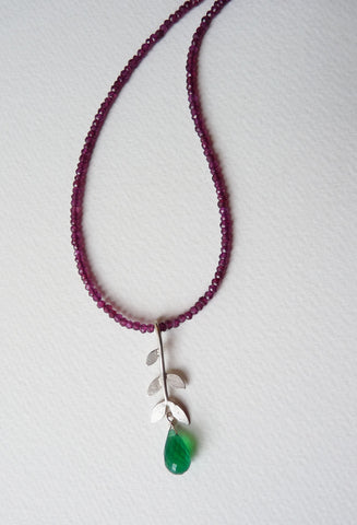 Sally Leaf Garnet Necklace with Green Onyx Drop