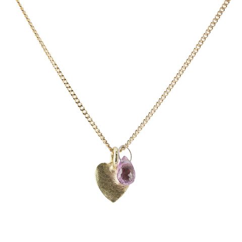 Delicate gold necklace with pink sapphire