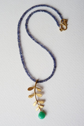 Gold Plated Evie Leaf with Chrysoprase on Iolite