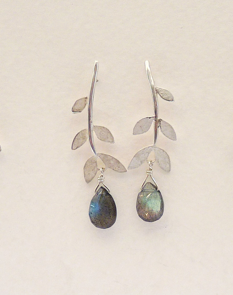 Blossoming, branch, jewellery, leaf, leaves, jewelry, earrings, studs, sterling, silver, nature, natural, labradorite