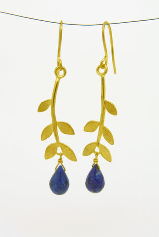 Gold Plated Sally Leaf Earrings with gemstone drop