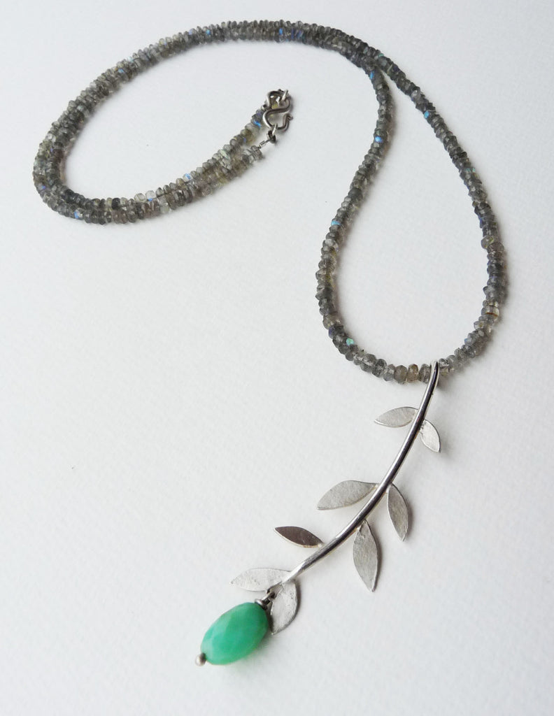 blossoming, branch, sterling, silver, necklace, handmade, jewellery, jewelry, leaf, leaves, labradorite, chrysoprase, long, nature, natural