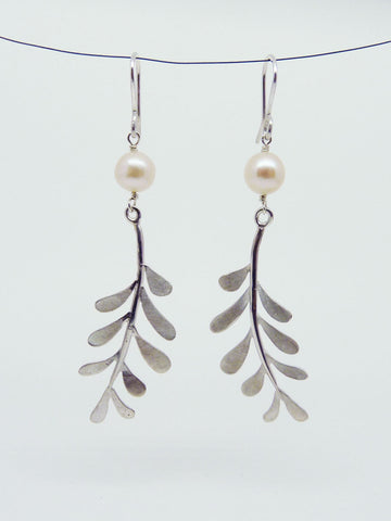 Elspeth Leaf Earrings with gemstone