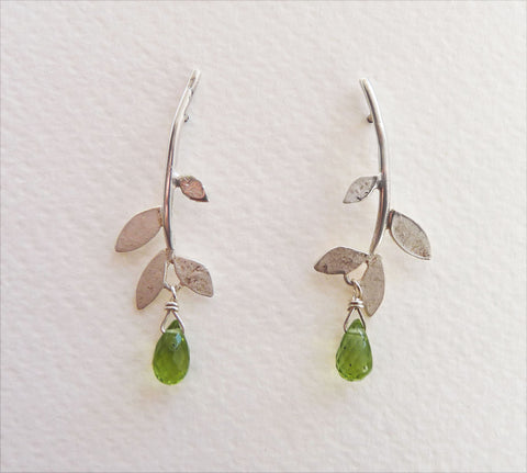 Lila Leaf stud earring with gemstone drop