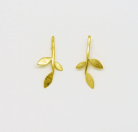 Gold Plate Lola Leaf stud earrings