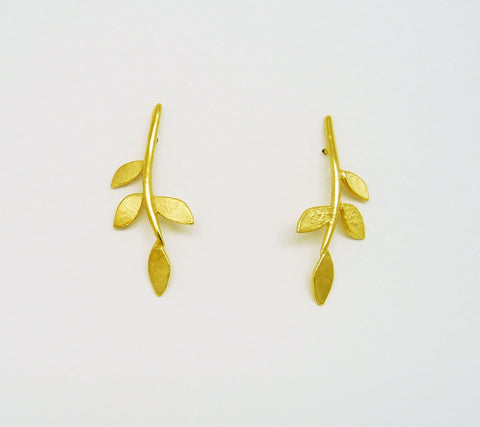 Gold Plated Eloise Leaf Stud Earrings