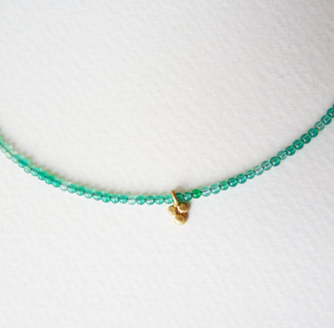 Delicate Gold Plate Green Onyx Necklace