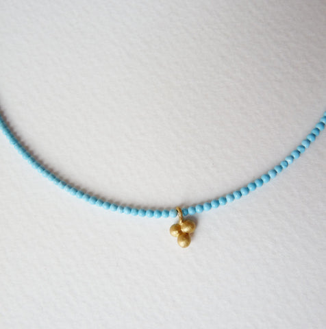 Delicate Gold Plate Turquoise Necklace