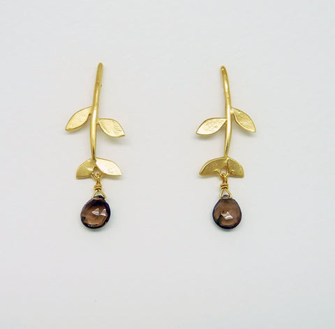 Gold Plated Tabatha Leaf Stud Earrings with gemstone drop
