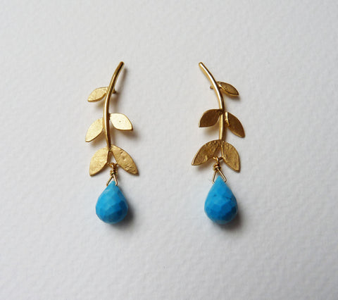 Gold Plated Sally Leaf Stud Earrings with Gemstone drop