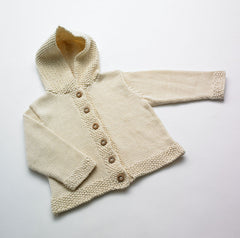 Organic cotton hooded cardigan