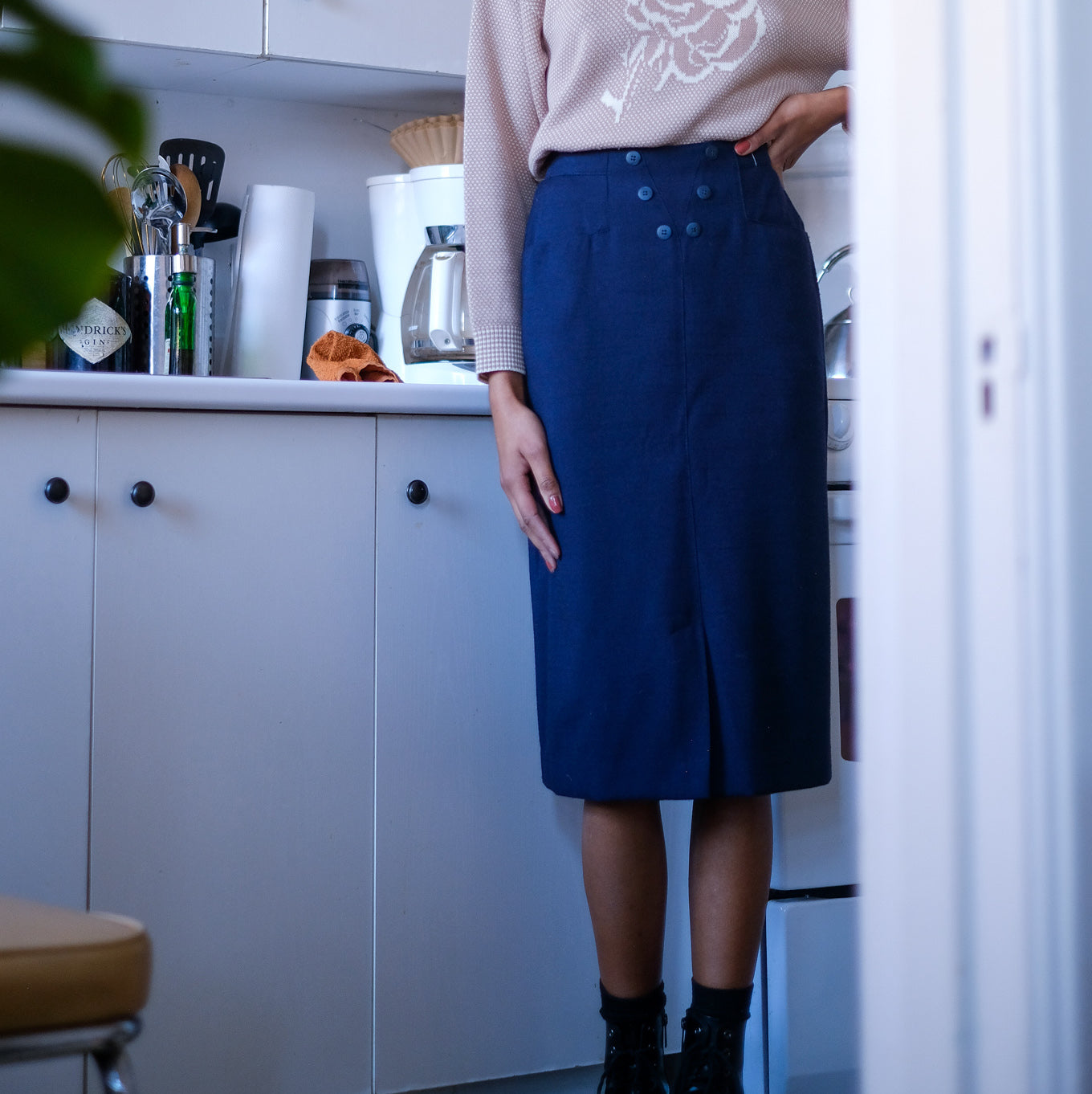 Navy Blue Vintage Midi Skirt