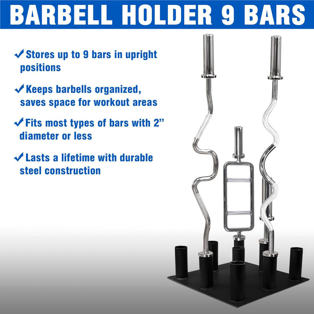 Olympic Barbell Holder Vertical Barbell Storage Rack – 9 Bars