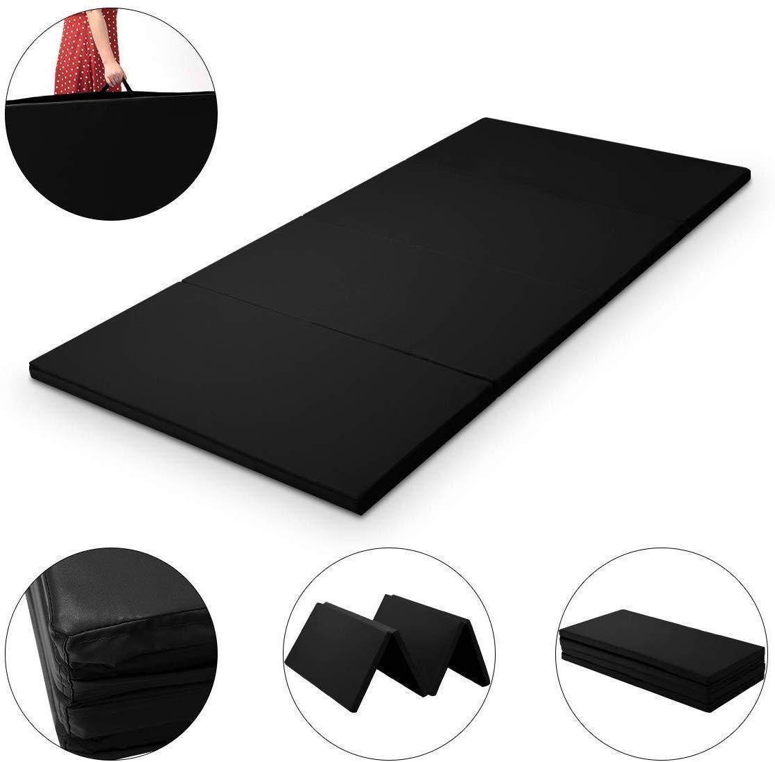 3Mx1.2Mx5cm Folding Tumbling Mat Gymnastics Gym Exercise Mat High Density - Black