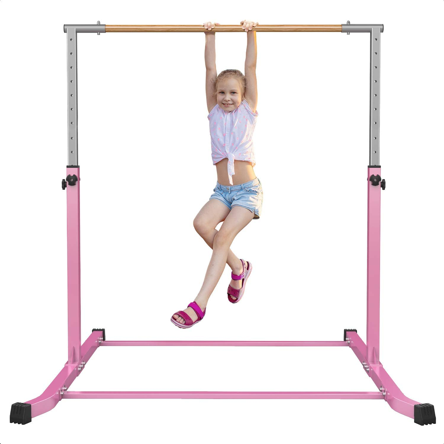 Gymnastic Horizontal Bar Sports Junior Training Bar Adjustable Height Kip Bar - Pink