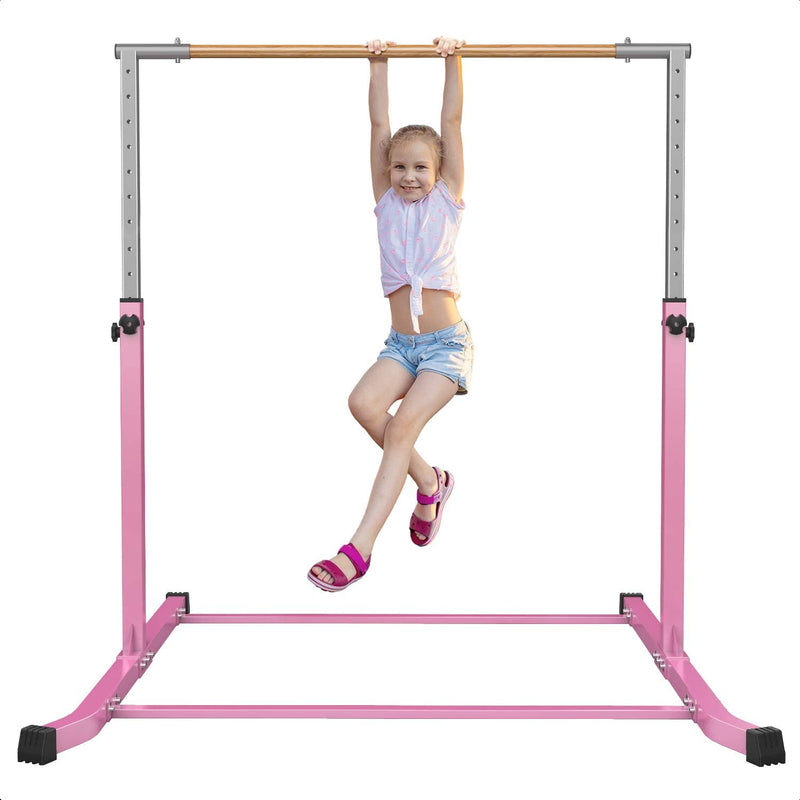 Value Combo Gymnastic Horizontal Bar Sports Junior Training Bar + Gym Mat (Pink Set)
