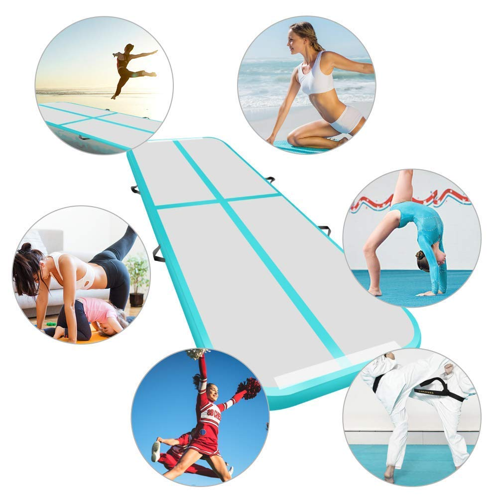 3x1M Inflatable Air Track Mat Tumbling Floor Home Gymnastics Mat Green with Electric Pump
