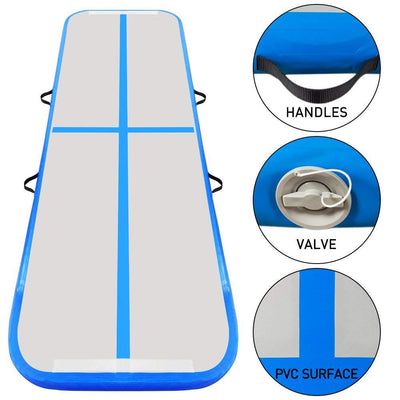 3x1M Inflatable Air Track Mat Tumbling Floor Home Gymnastics Mat Blue with Electric Pump