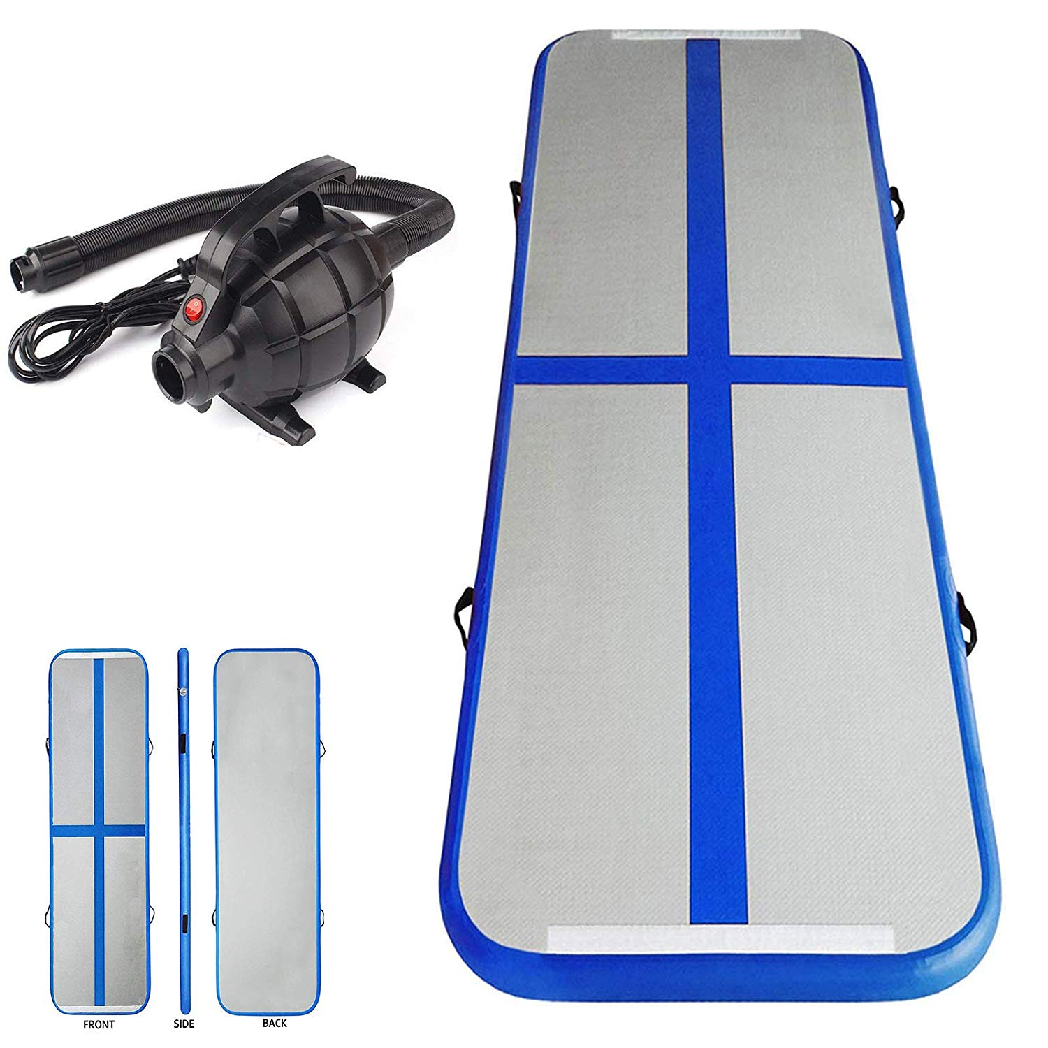 Multiple Sizes Inflatable Air Track Mat Tumbling Floor Home Gymnastics Mat Blue with Electric Pump