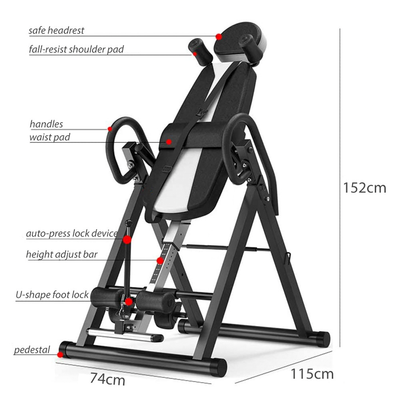 Foldable Gravity Inversion Table Back Stretcher Inverter Machine Height Adjustable - White