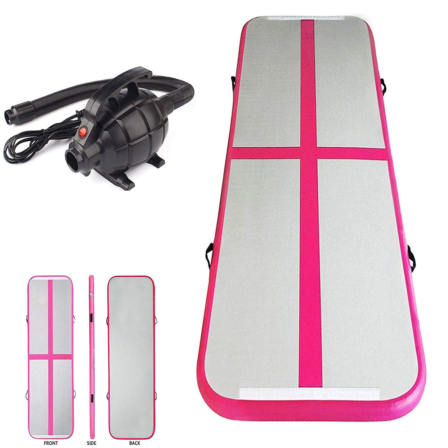 Inflatable Air Track Mat Tumbling Floor Home Gymnastics Mat Pink with Electric Pump