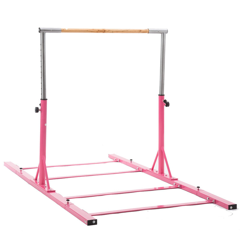 Value Combo Advanced Gymnastic Horizontal Bar Long Base Training Bar + Gym Mat (Pink)