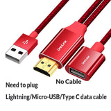 USB to HDMI Cable - FOR iPhone, iPad, Android - Phone to LED TV Projector Micro USB Type C to HDMI