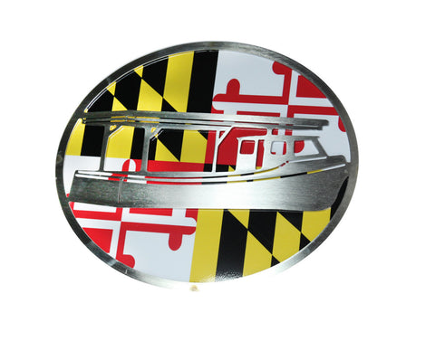 Boat w/Maryland Flag Hitch Cover