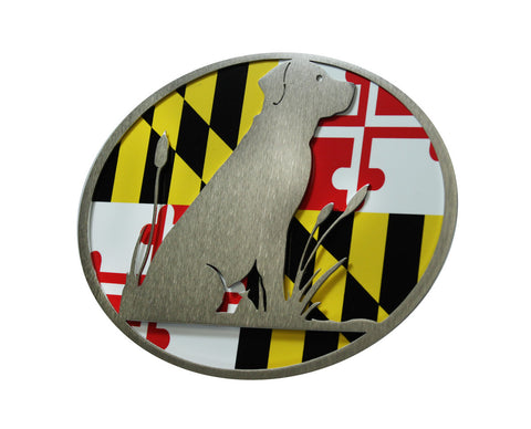 Lab w/Maryland Flag Hitch Cover