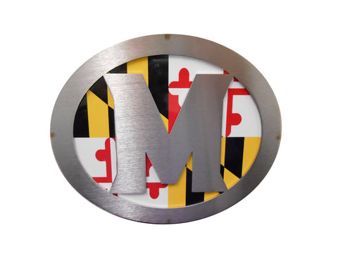 """M"" w/Maryland Flag Hitch Cover"
