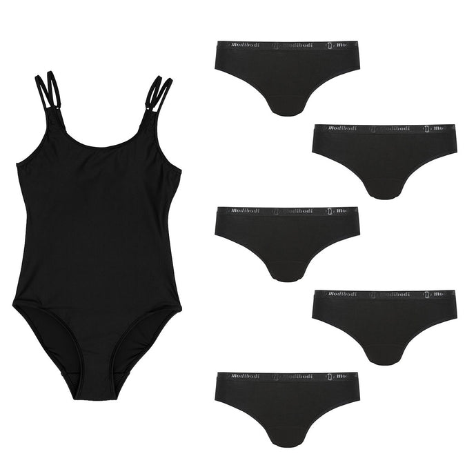 Modibodi Swimwear One Piece and Classic Bikini Pack Black Light-Moderate Flatlay