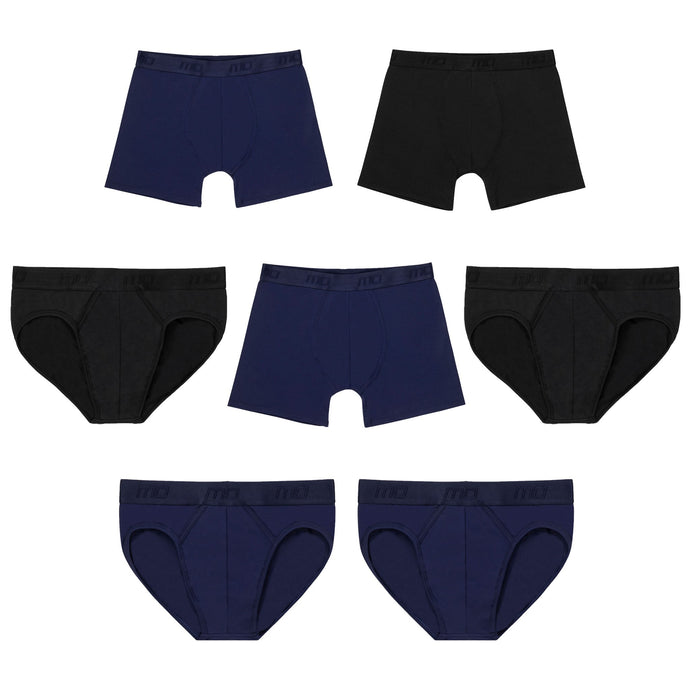 MO by Modibodi Mens Trunks and Brief 7 Pack Light-Moderate Flatlay