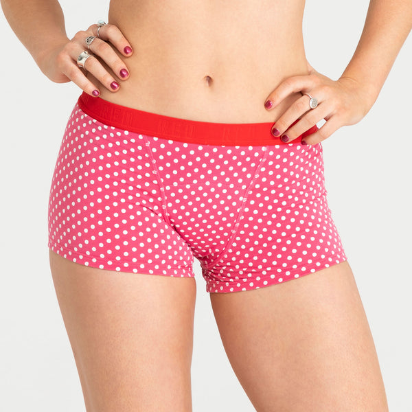 Load image into Gallery viewer, Red by Modibodi teen Period Underwear Pink Dots Boyshort 1