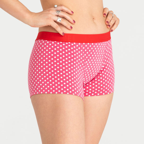 Load image into Gallery viewer, Red by Modibodi teen Period Underwear Pink Dots Boyshort 3