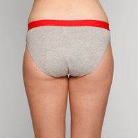 Teen Period Underwear - RED Modibodi Hipster Bikini - Grey Marle
