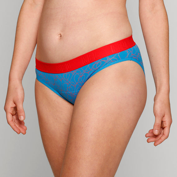 Load image into Gallery viewer, Teen Period Underwear - RED Modibodi Hipster Bikini - Love Heart