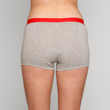 Load image into Gallery viewer, Teen Period Underwear - RED Modibodi Hipster Boyshort - Grey Marle