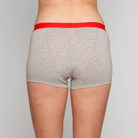 Teen Period Underwear - RED Modibodi Hipster Boyshort - Grey Marle