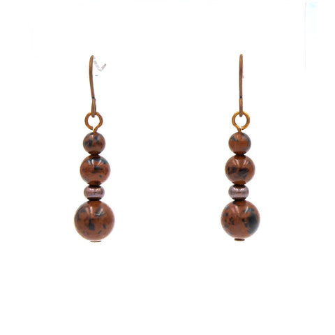 Earthy Mahogany Obsidian Copper Earrings