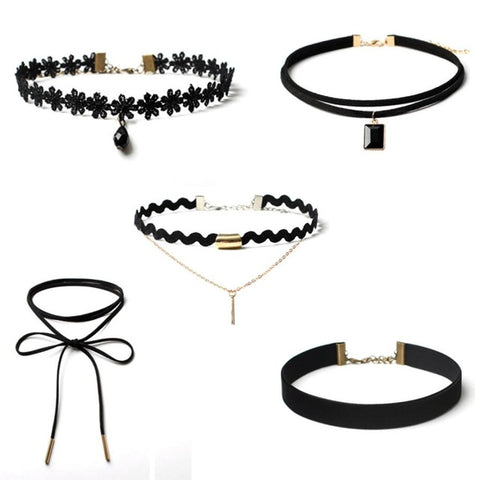 Popular 5 Pieces Choker Necklace Set Stretch