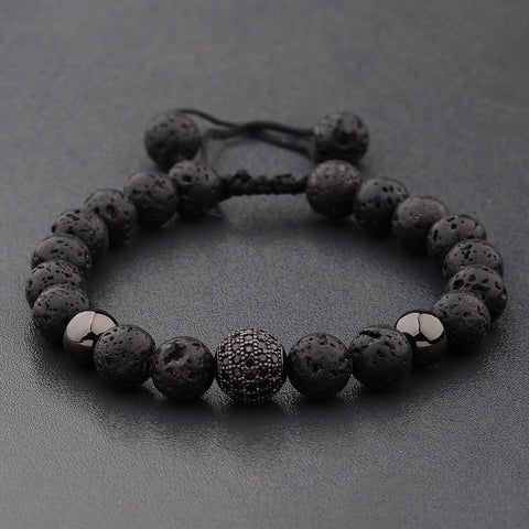 Crystal Ball Black Lava Stone Bracelet