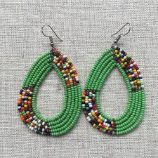 Traditional Green Oval Beaded Maasai Earrings African jewelry
