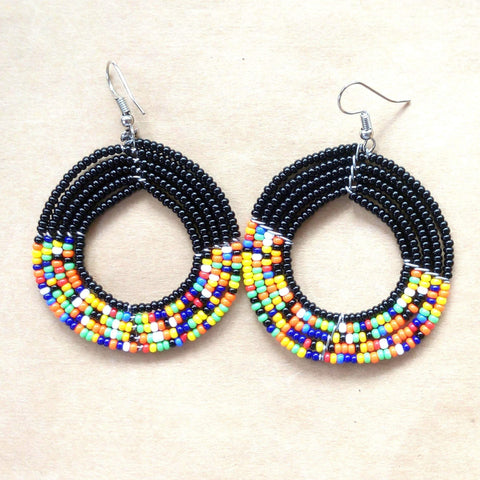 Beaded Round Maasai Hoop Earrings