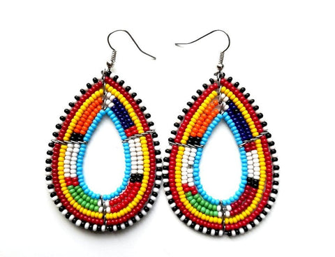 African handmade maasai beaded earrings, traditional women earrings